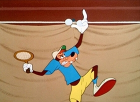 Screenshots from the 1949 Disney cartoon Tennis Racquet