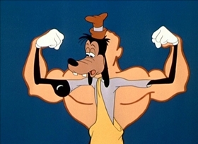 Screenshots from the 1949 Disney cartoon Goofy Gymnastics