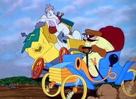 Screenshots from the 1949 Disney cartoon The Wind in the Willows