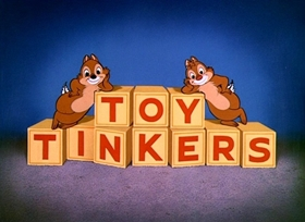 Screenshots from the 1949 Disney cartoon Toy Tinkers