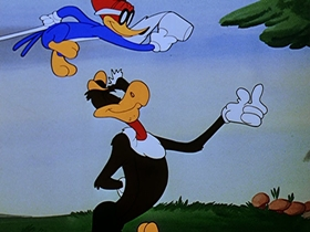 Screenshots from the 1949 Walter Lantz cartoon Drooler