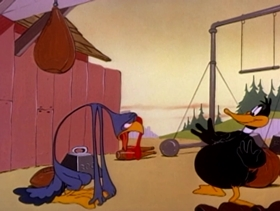 Screenshots from the 1949 Warner Brothers cartoon Holiday for Drumsticks