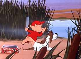 Screenshots from the 1949 Warner Brothers cartoon Daffy Duck Hunt