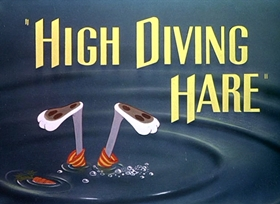 Screenshots from the 1949 Warner Brothers cartoon High Diving Hare