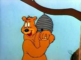 Screenshots from the 1949 Warner Bros. cartoon The Bee-Deviled Bruin