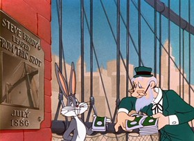 Screenshots from the 1949 Warner Brothers cartoon Bowery Bugs
