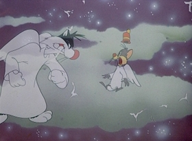 Screenshots from the 1949 Warner Brothers cartoon Mouse Mazurka