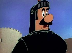 Screenshots from the 1949 Warner Brothers cartoon Knights Must Fall