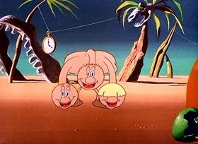 Screenshots from the 1949 Warner Brothers cartoon Dough For the Do-Do