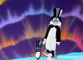 Screenshots from the 1949 Warner Brothers cartoon Frigid Hare