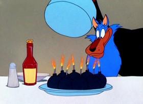 Screenshots from the 1949 Warner Brothers cartoon Bye, Bye Bluebeard