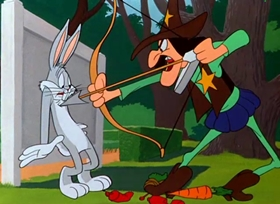 Screenshots from the 1949 Warner Brothers cartoon Rabbit Hood