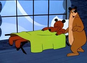Screenshots from the 1949 UPA cartoon The Ragtime Bear