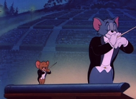 Screenshots from the 1950 MGM cartoon Tom and Jerry in the Hollywood Bowl
