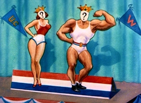 Screenshots from the 1950 MGM cartoon The Chump Champ