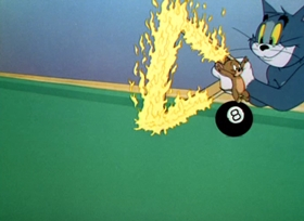 Screenshots from the 1950 MGM cartoon Cueball Cat
