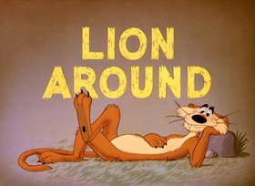 Screenshots from the 1950 Disney cartoon Lion Around