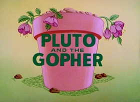 Screenshots from the 1950 Disney cartoon Pluto and the Gopher