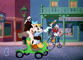 Screenshots from the 1950 Disney cartoon Crazy Over Daisy