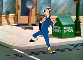 Screenshots from the 1950 Disney cartoon Motor Mania
