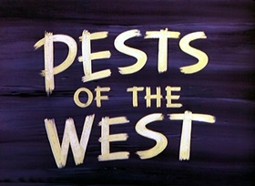 Screenshots from the 1950 Disney cartoon Pests of the West