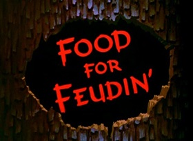 Screenshots from the 1950 Disney cartoon Food for Feudin