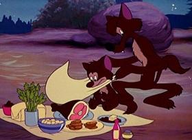 Screenshots from the 1950 Disney cartoon Camp Dog