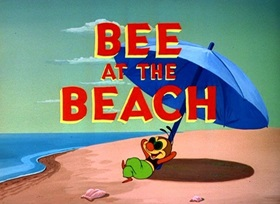 Screenshots from the 1950 Disney cartoon Bee at the Beach