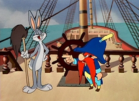 Screenshots from the 1950 Warner Brothers cartoon Mutiny on the Bunny