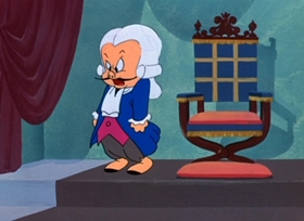 Screenshots from the 1950 Warner Brothers cartoon The Scarlet Pumpernickel