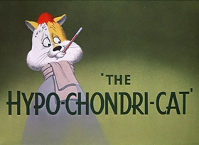 Screenshots from the 1950 Warner Brothers cartoon The Hypo-Chondri-Cat