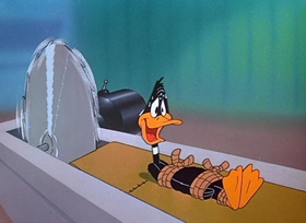 Screenshots from the 1950 Warner Brothers cartoon The Ducksters