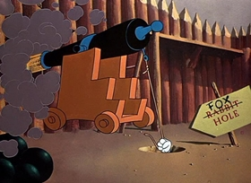 Screenshots from the 1950 Warner Brothers cartoon Bunker Hill Bunny