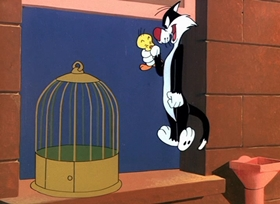 Screenshots from the 1950 Warner Brothers cartoon Canary Row