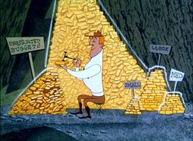 Screenshots from the 1950 UPA cartoon The Miner