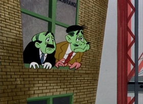 Screenshots from the 1950 UPA cartoon Trouble Indemnity