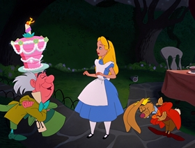Screenshots from the 1951 Disney cartoon Alice in Wonderland