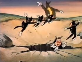 Screenshots from the 1951 Terrytoons cartoon The Cat