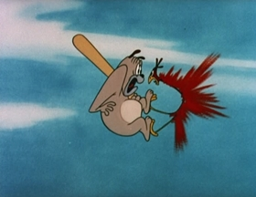 Screenshots from the 1951 MGM cartoon Cock-a-Doodle Dog
