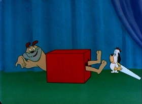 Screenshots from the 1951 MGM cartoon Daredevil Droopy