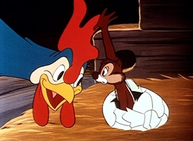 Screenshots from the 1951 Disney cartoon Chicken in the Rough