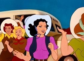 Screenshots from the 1951 Disney cartoon Dude Duck