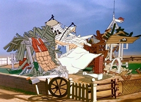 Screenshots from the 1951 Disney cartoon Home Made Home