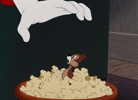 Screenshots from the 1951 Disney cartoon Corn Chips