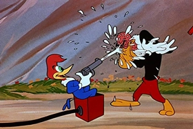 Screenshots from the 1951 Walter Lantz cartoon Puny Express