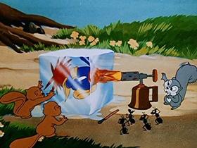 Screenshots from the 1951 Walter Lantz cartoon Redwood Sap