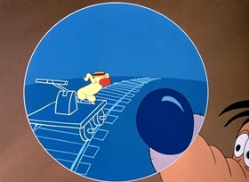 Screenshots from the 1951 Disney cartoon Cold War