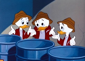 Screenshots from the 1951 Disney cartoon Lucky Number