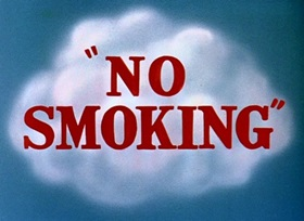 Screenshots from the 1951 Disney cartoon No Smoking