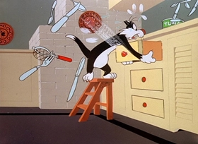 Screenshots from the 1951 Warner Brothers cartoon Canned Feud